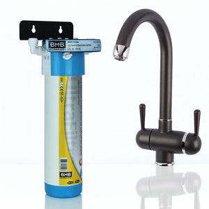 BMB Zada Under Sink Inline Water Filter System with Hommix Pardenia Modern Black Filter Tap