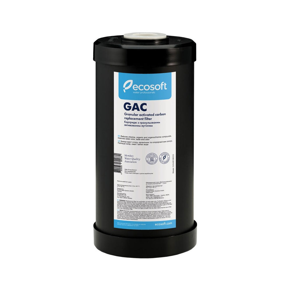 "Ecosoft 4.5"" х 10"" GAC (Granular Activated Carbon) Replacement Filter"