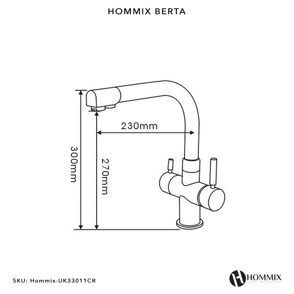 Hommix Berta Chrome 3-Way Tap (Triflow Tap / Filter Tap)