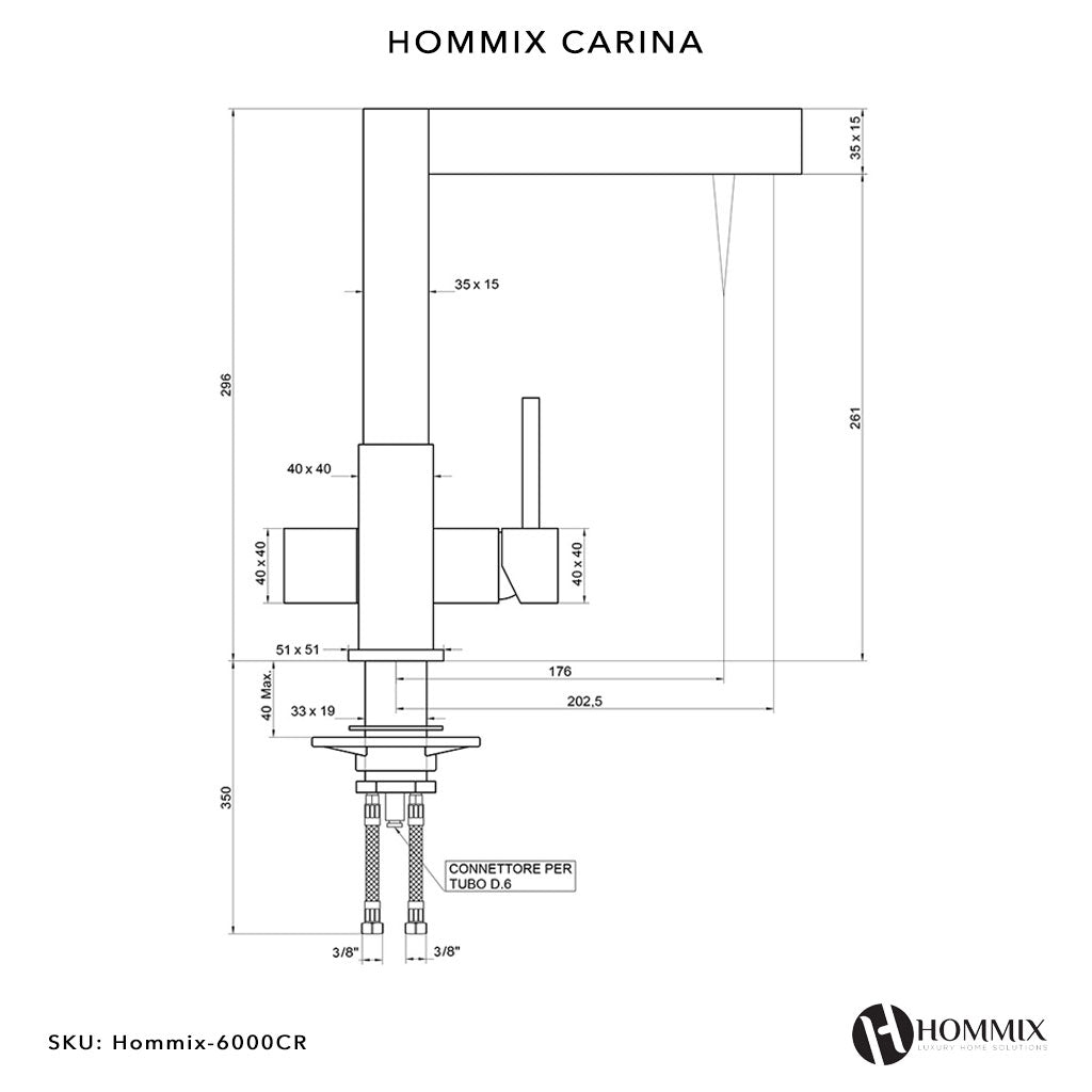 Hommix Carina Chrome 3-Way Tap (Triflow Filter Tap)
