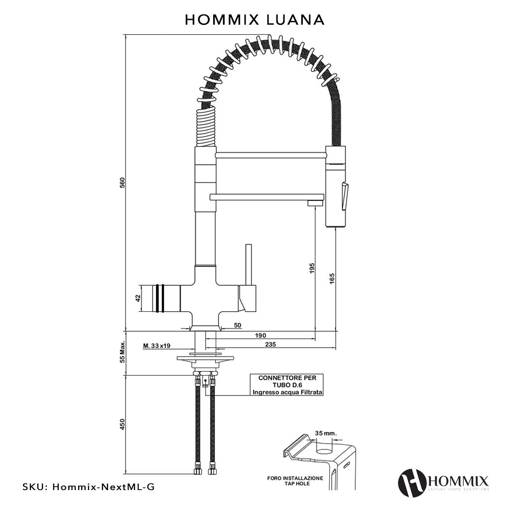 Hommix Luana Tall Gold Pull-Out Spray-Hose 3-Way Tap (Triflow Filter Tap)