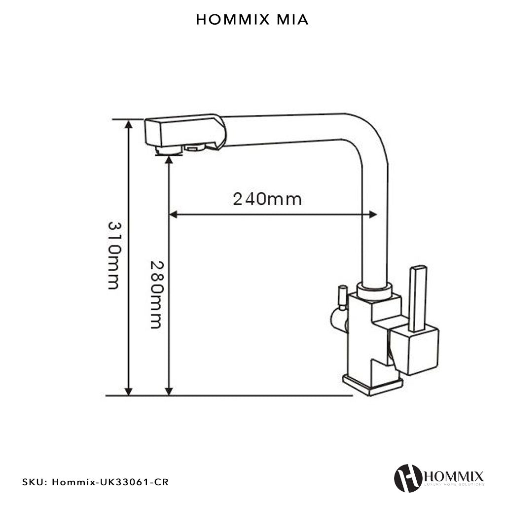 Hommix Mia Chrome 3-Way Tap (Triflow Filter Tap)