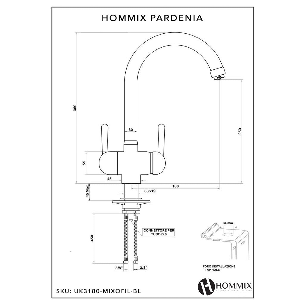 Hommix Pardenia Black 3-Way Tap (Triflow Tap) Filter Tap