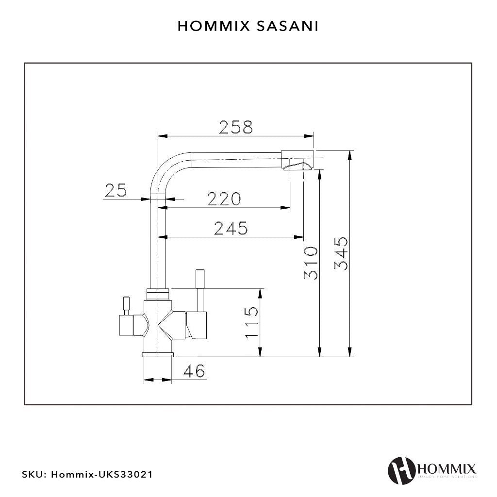 Hommix Sasani Brushed 304 Stainless Steel 3-Way Tap (Triflow Filter Tap)