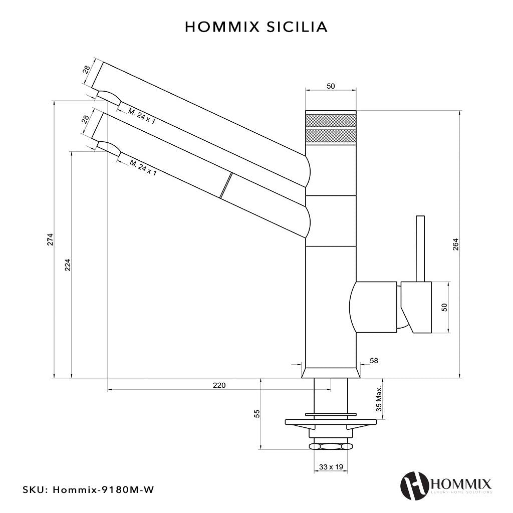 Hommix Sicilia White Pull-Out 3-Way Tap (Triflow Filter Tap)