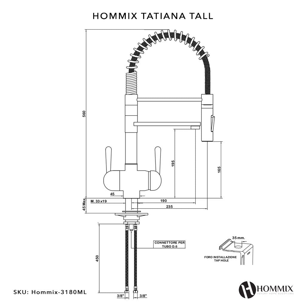 Hommix Tatiana Tall Copper Pull-Out Spray-Hose 3-Way Tap (Triflow Filter Tap)
