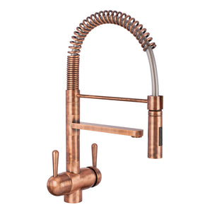 Hommix Tatiana Copper 3-Way Tap (Triflow Tap) Spring Pull Out Elegant Kitchen Filter Tap