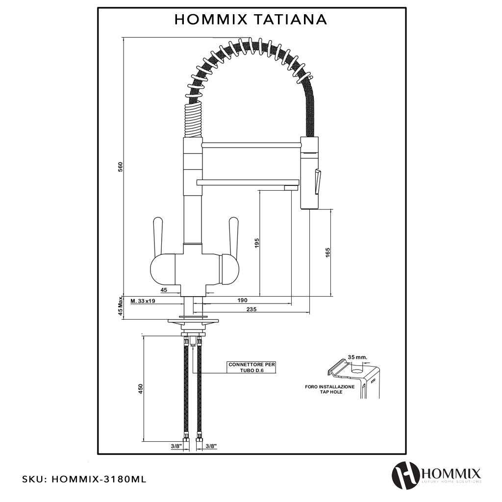 BMB Zada Under Sink Inline Water Filter System with Hommix Tatiana Tall Modern Copper Filter Tap