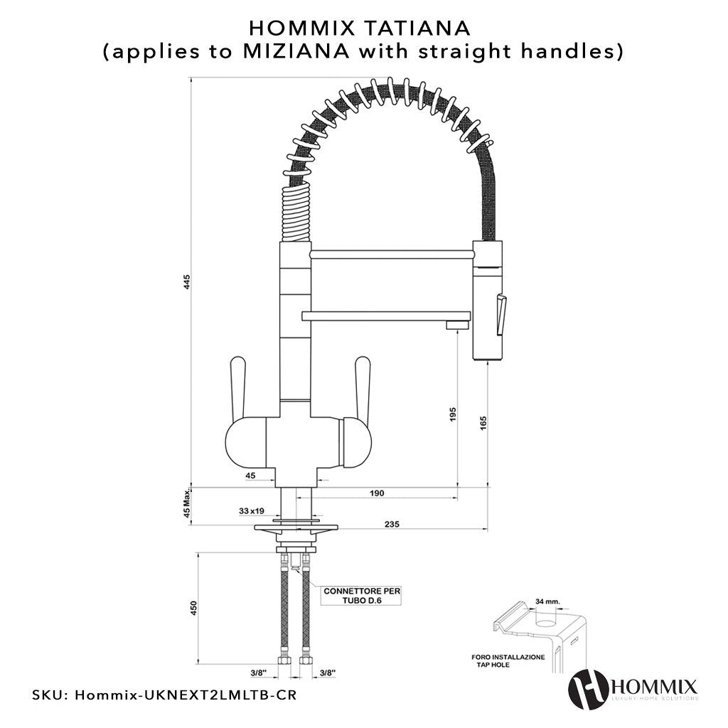 Hommix Miziana Chrome Pull-Out Spray-Hose 3-Way Tap (Triflow Filter Tap)