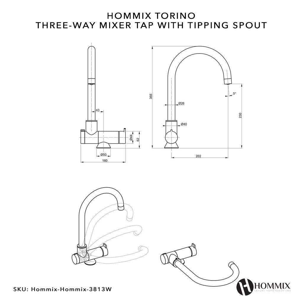 Hommix Torino Chrome 3-Way Tap (Triflow Tap) Folding 3 Way Tap