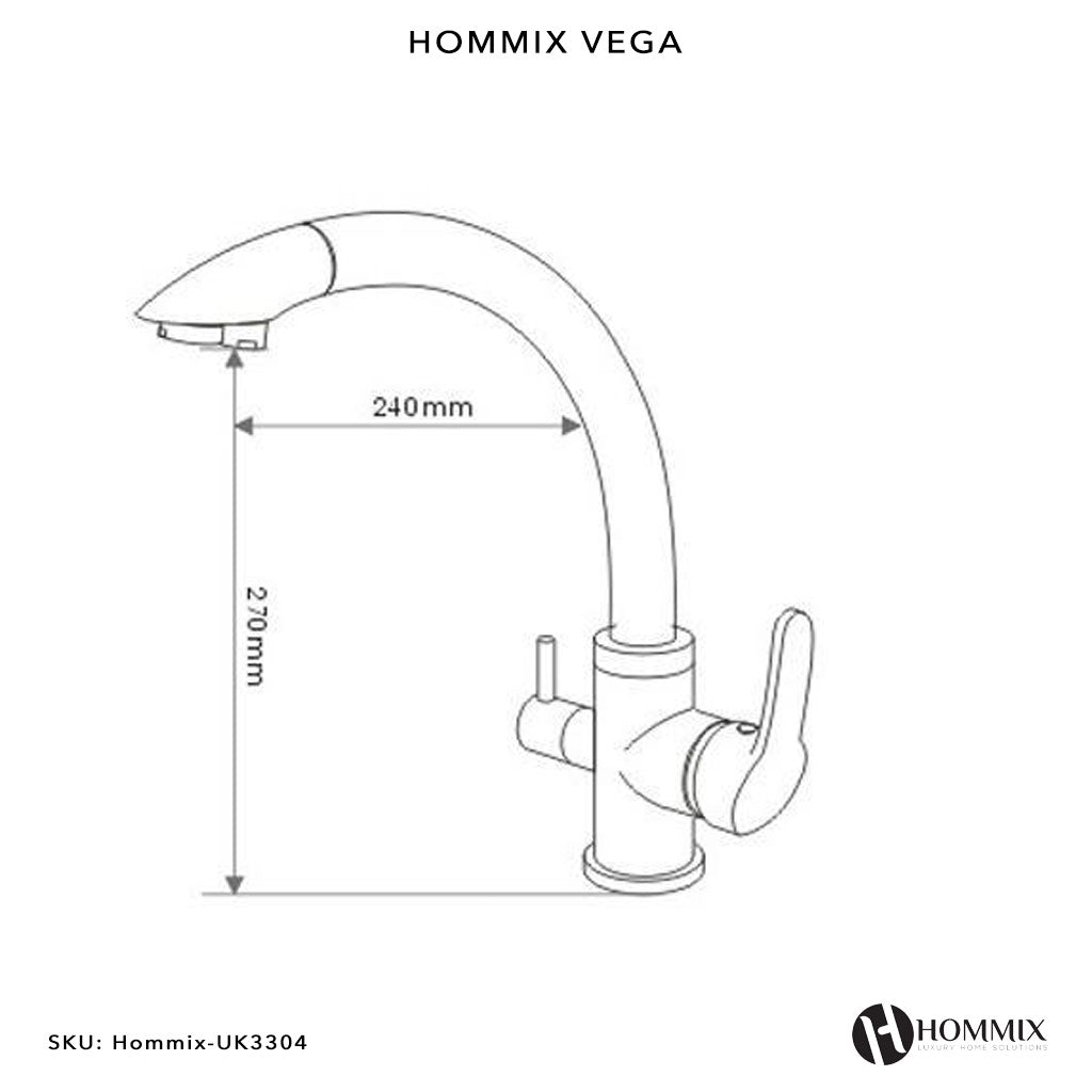 Hommix Vega Chrome 3-Way Tap (Triflow Filter Tap)