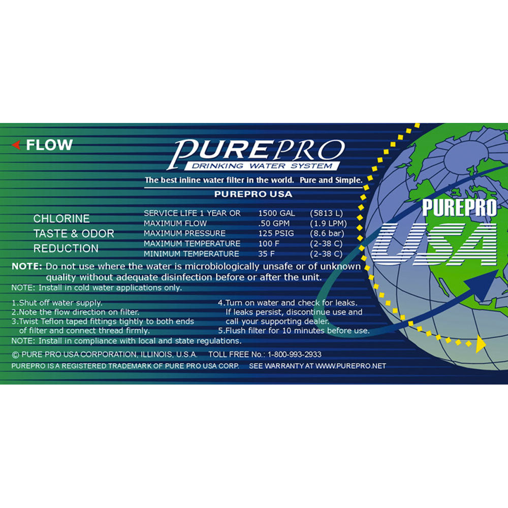 Pure-Pro Post Carbon Inline / Replacement Filter (Fittings Included)