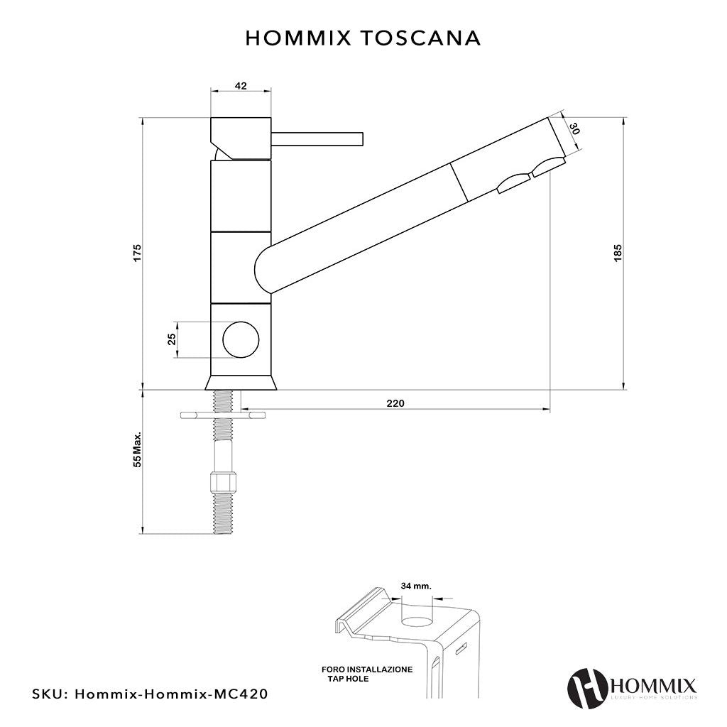 Hommix Toscana Chrome 3-Way Tap (Triflow Filter Tap)