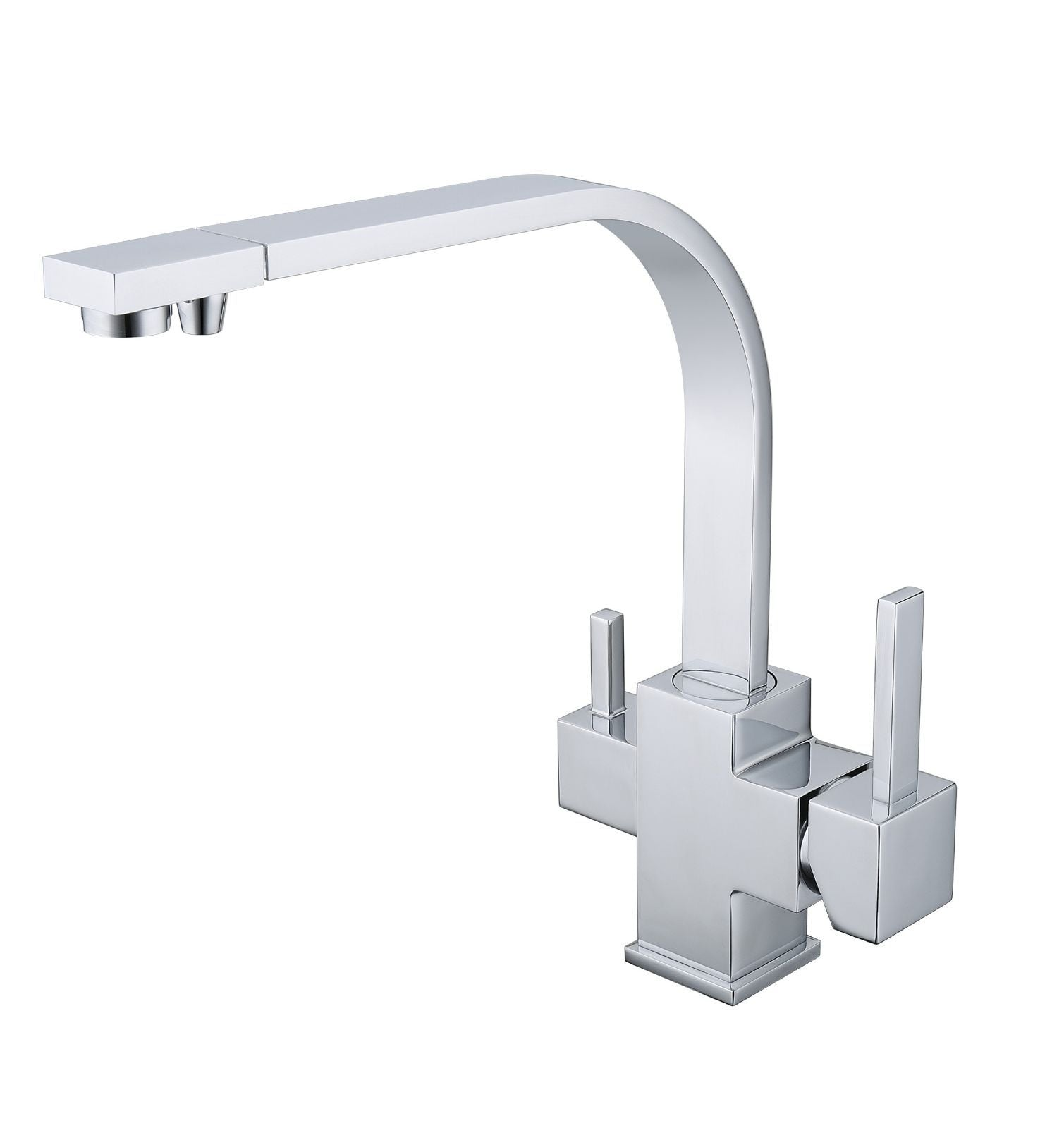 chrome square style 3 way tap