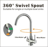 Hommix Pisa Stainless Steel Brushed 3-Way Tap (Triflow Tap) Classic Swan Neck Filter Tap