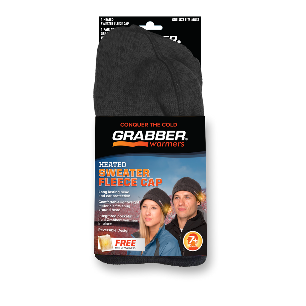 Grabber® Sweater Fleece Heated Gray Cap