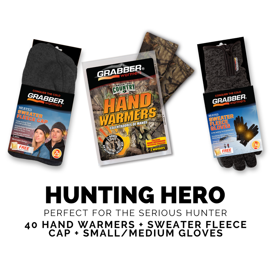 Hunting Hero (S/M) | Camo Warmers + Sweater Fleece Cap & Gloves