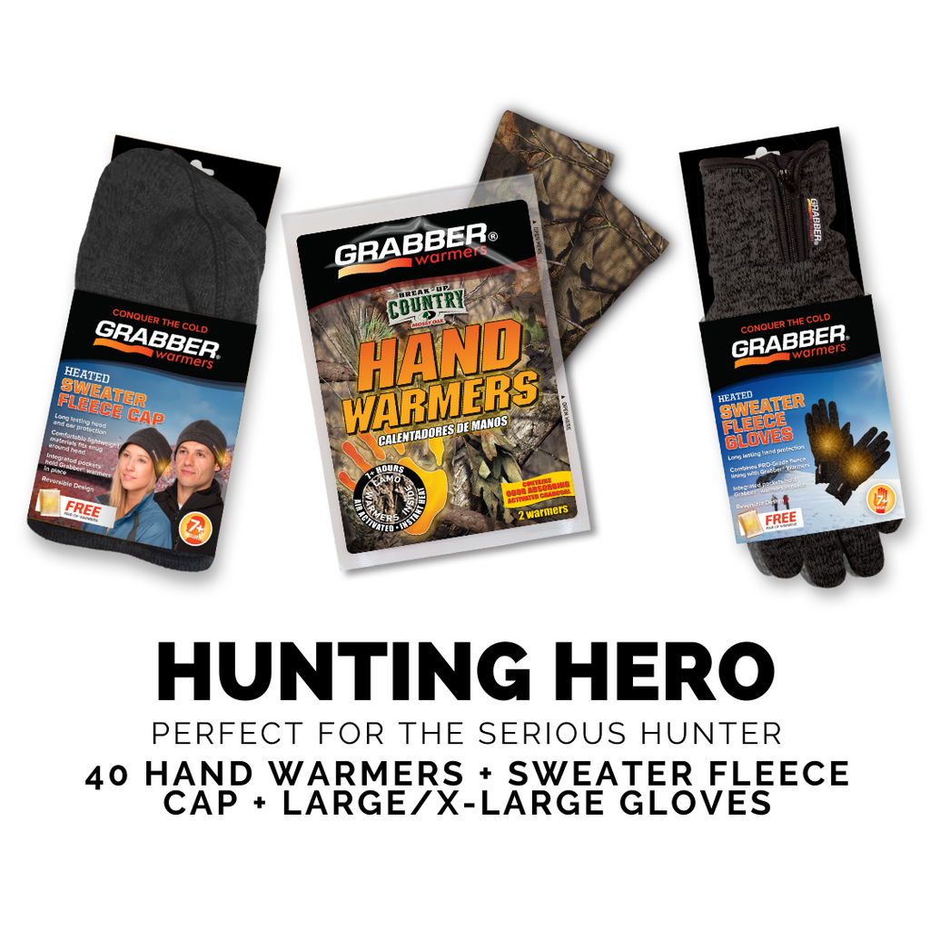 Hunting Hero (L/XL) | Camo Warmers + Sweater Fleece Cap & Gloves