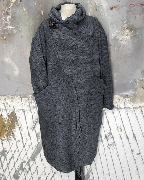 Hooded Cardigan Ash Blue
