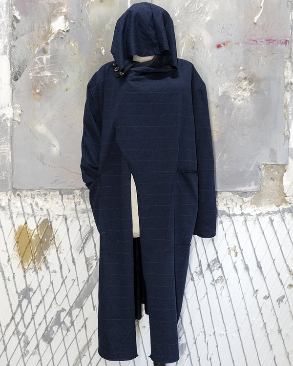 Hooded Cardigan Navy Pinstripe