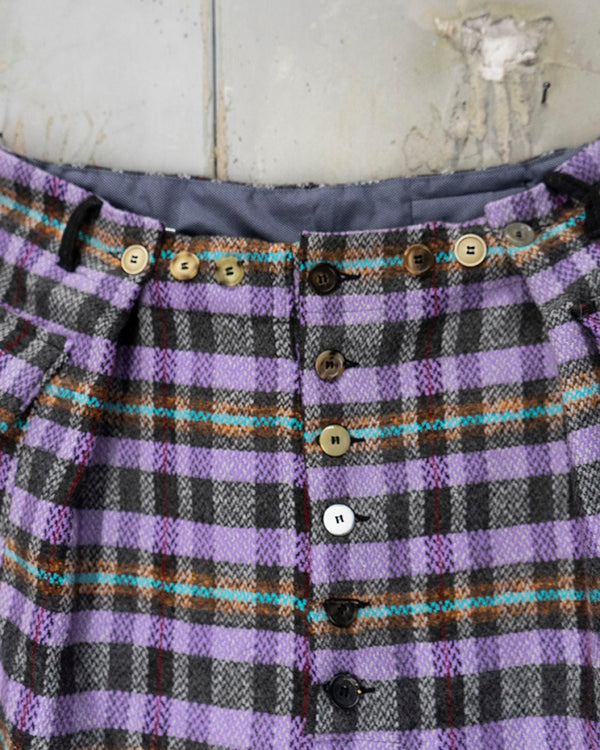 Pleat Trouser Plaid Lavendel