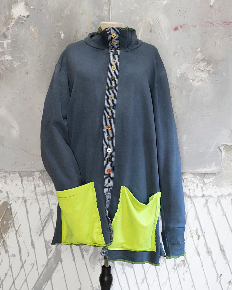 Cardigan Mid-Length Neon Patchwork