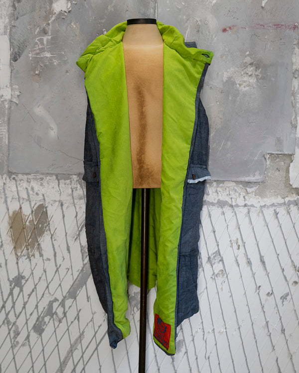 Long Vest Denim & Neon Green