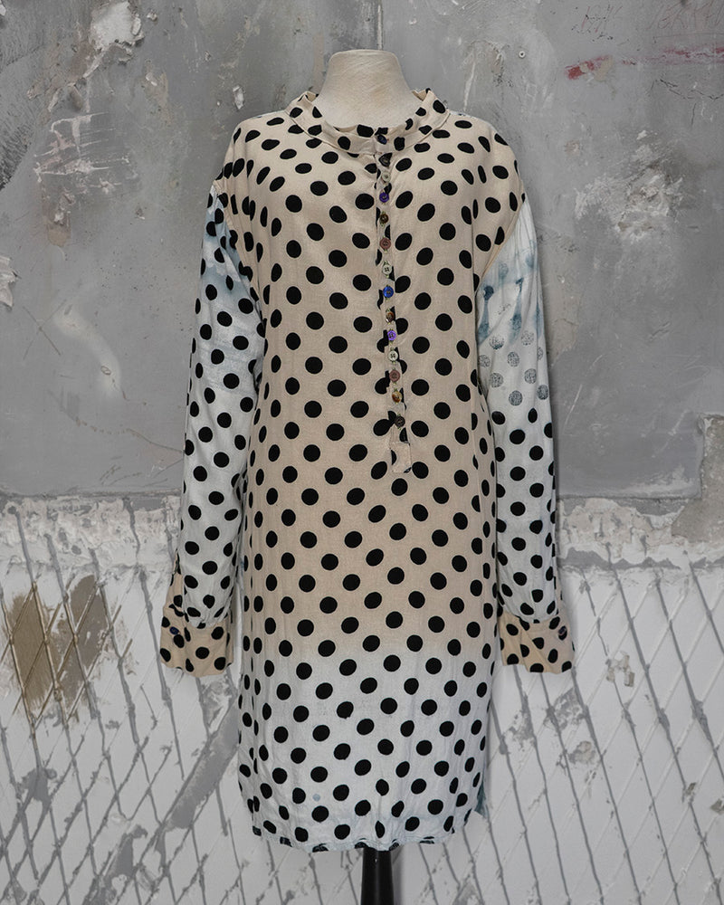 Tunic Shirt Off-White Polka-Dot
