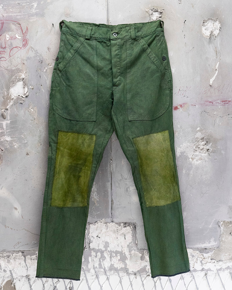 Denim + Leather Trouser Green