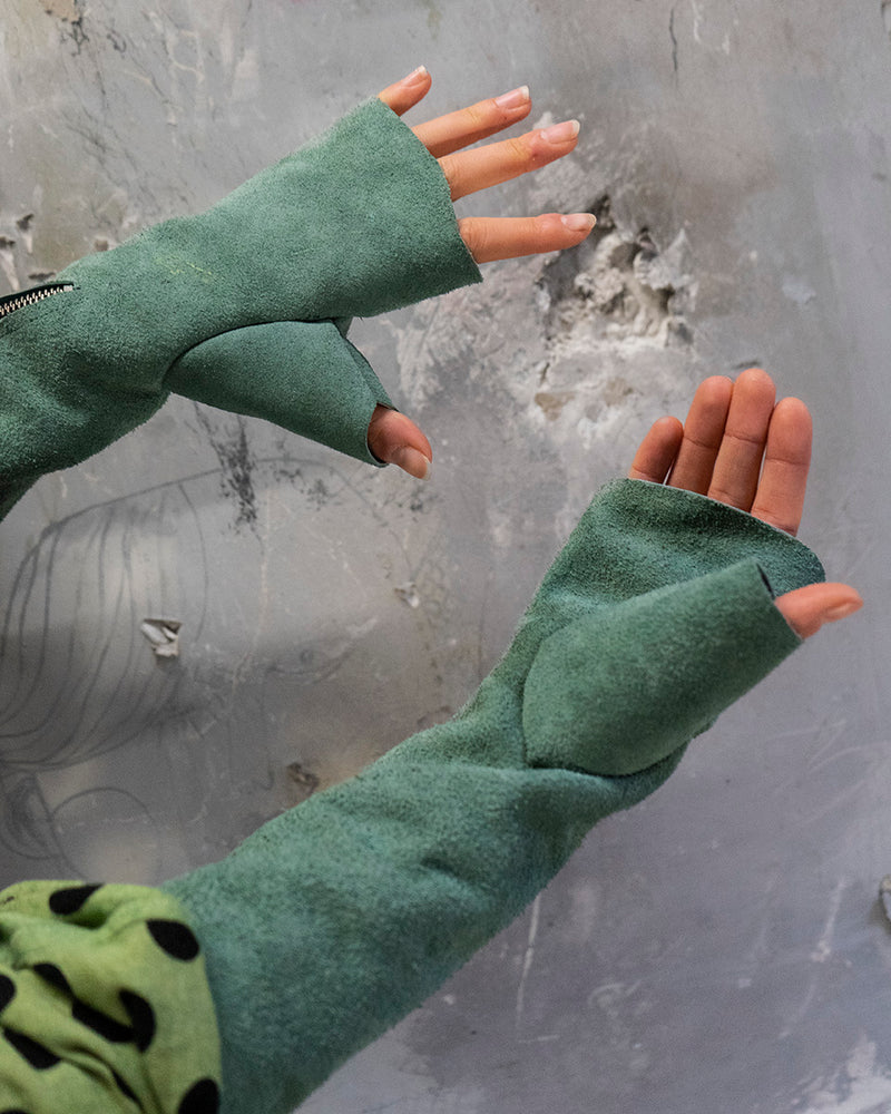 High Leather Gloves Green
