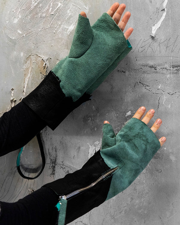 Leather Gloves Green