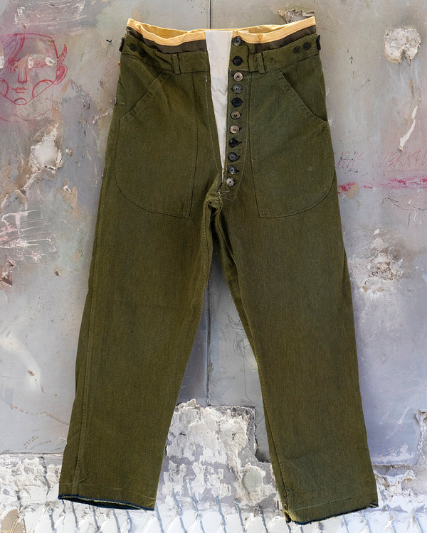 Denim Adjustable Trouser Green