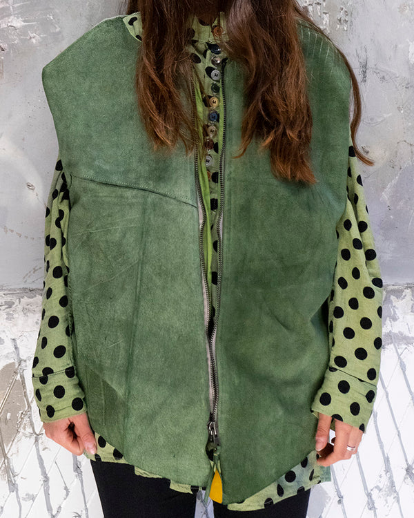 Leather Vest Green