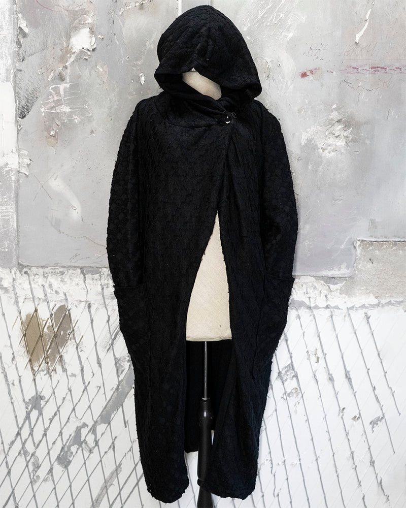 Hooded Cardigan Textured Black