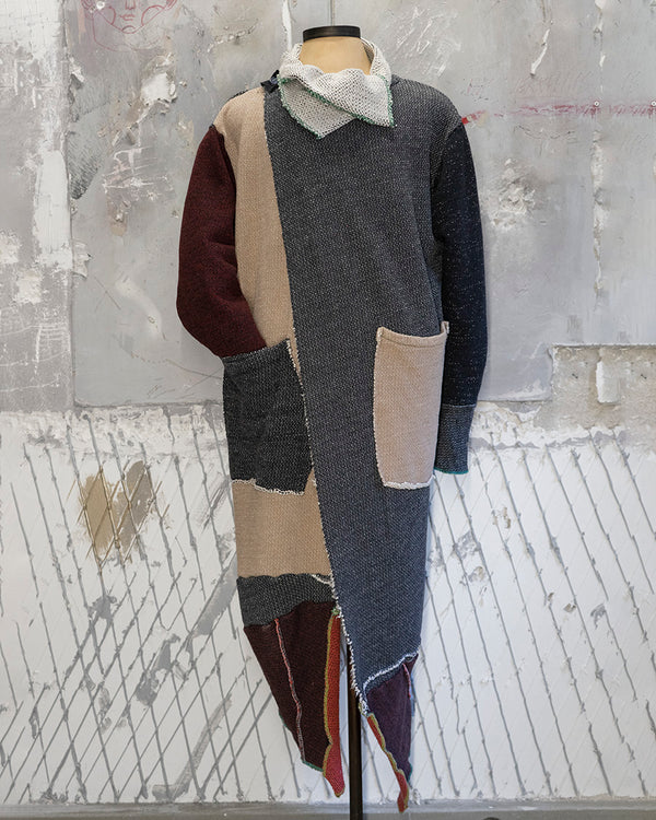 Long Cardigan Patchwork Beige Gray