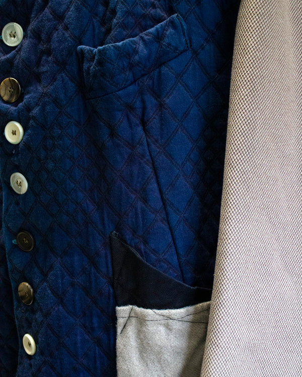 Patchwork Coat Royal Blue