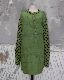 Tunic Shirt Polka-Dot Green