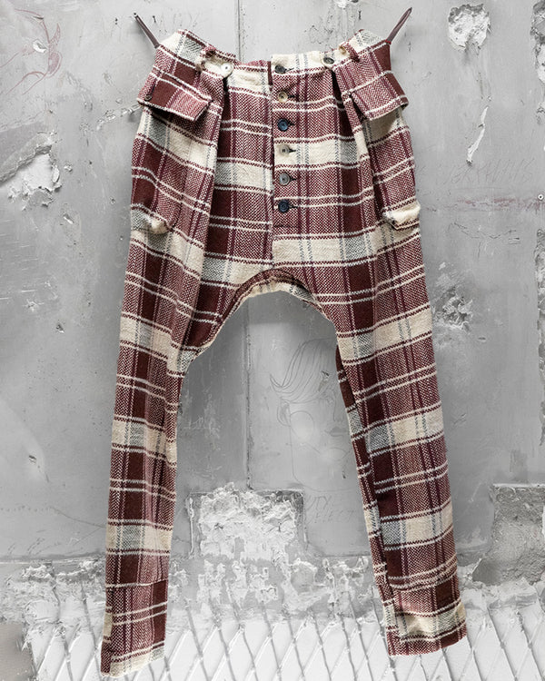 Pleat Trouser Plaid Red
