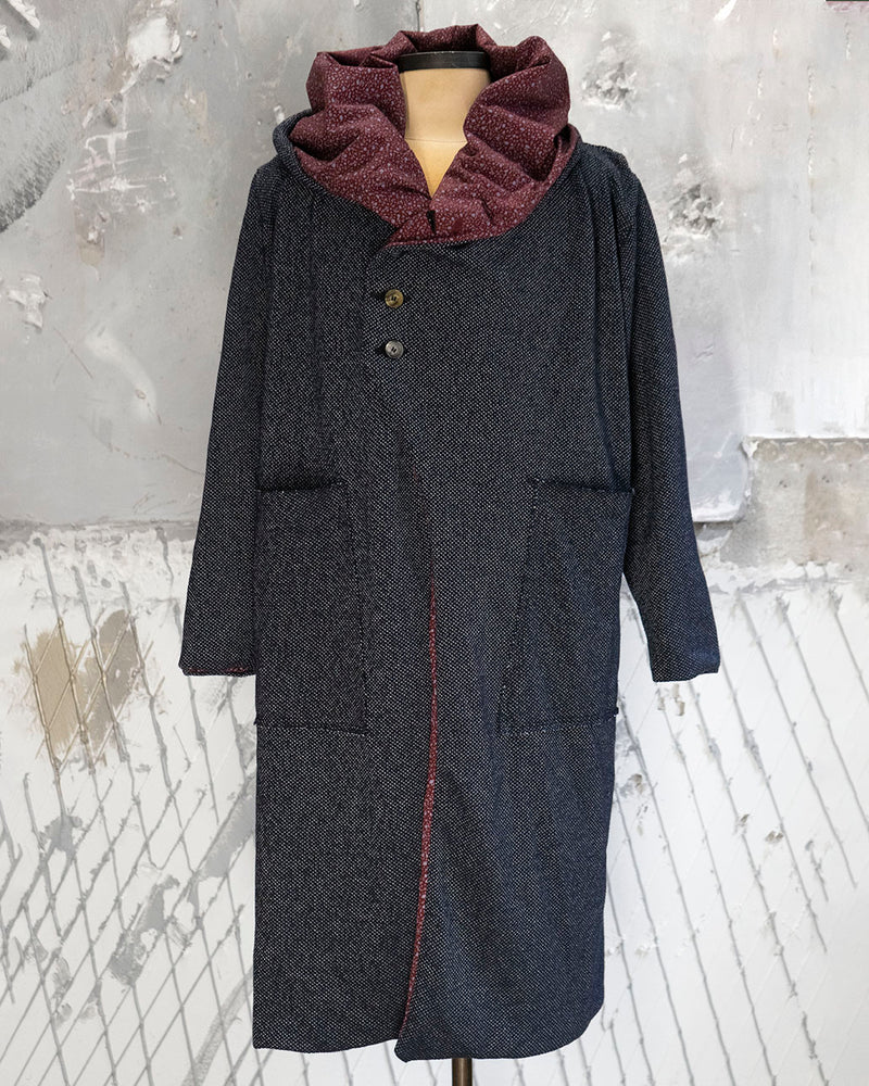 Hooded Cardigan Grey + Red