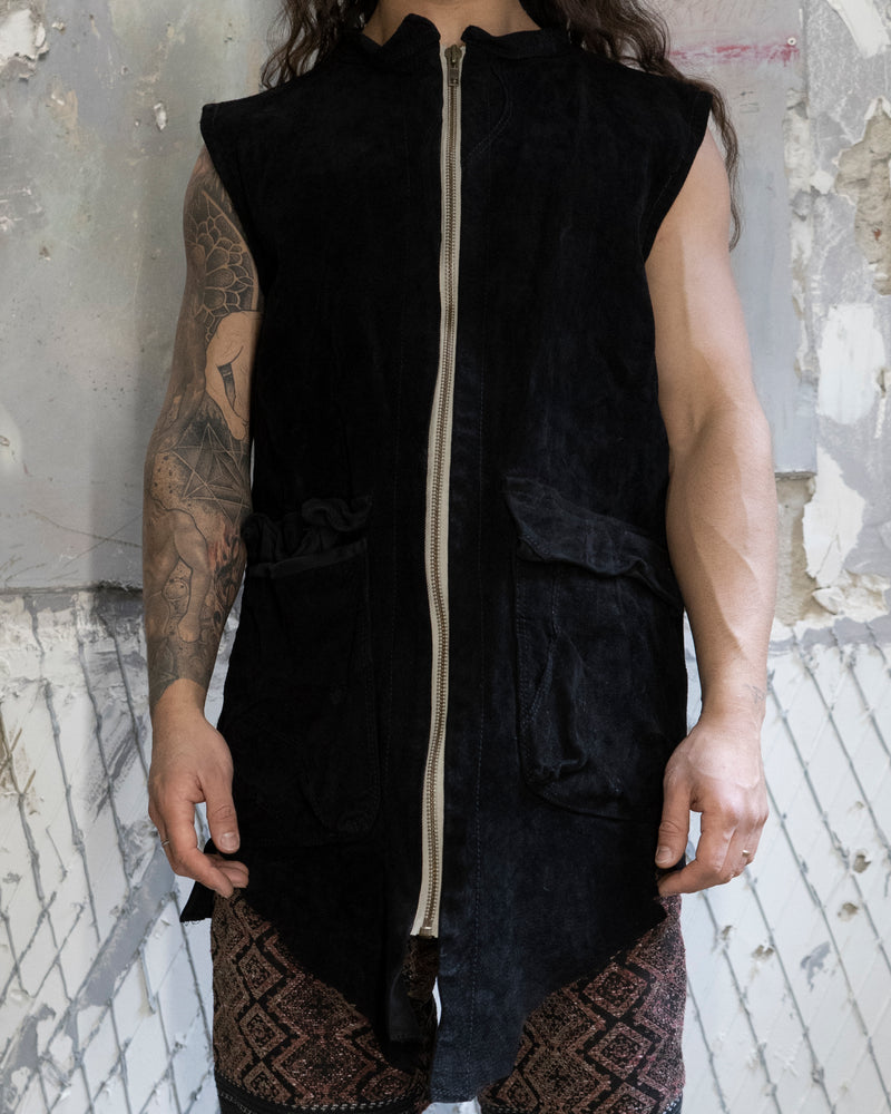Long Leather Vest Black