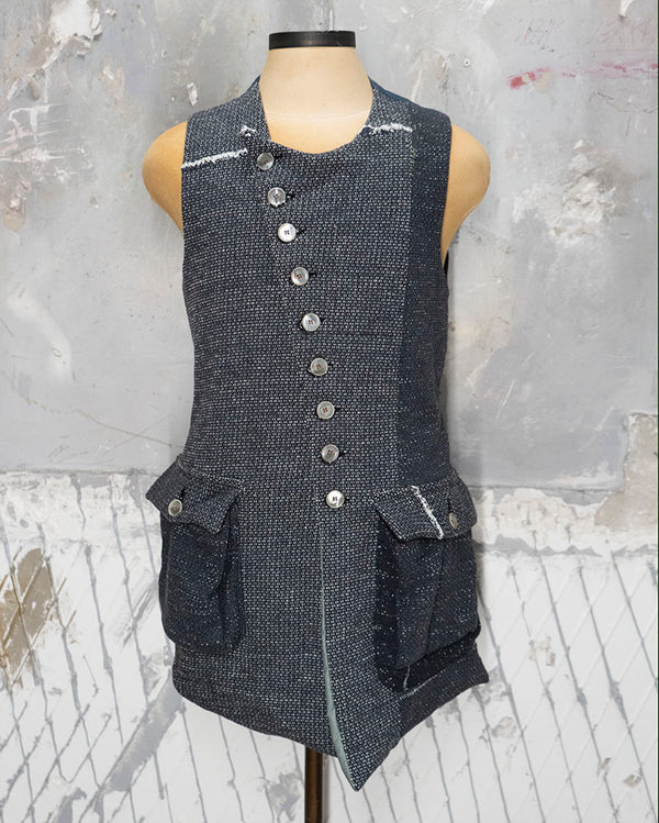 Cotton Patchwork Vest Grau