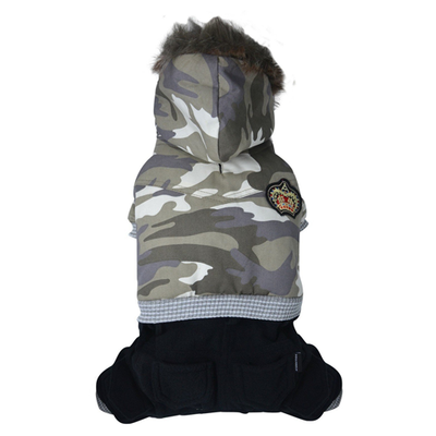 SMALL DOG - Camo Onesie with removable hood.