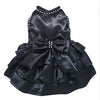 SMALL DOG - Glamorous Black Satin Doggy Dress