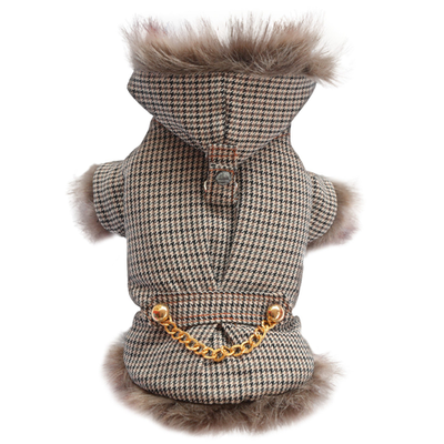 SMALL DOG - Lux Taupe Houndstooth Doggy Coat