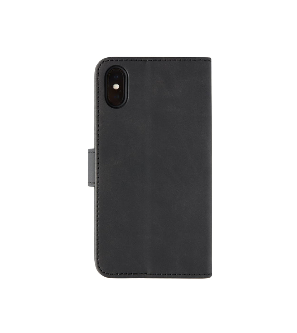 black iPhone XS x wallet leather case back view