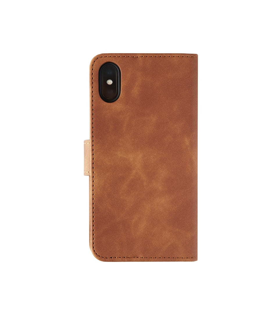 back view iPhone X XS wallet leather case brown