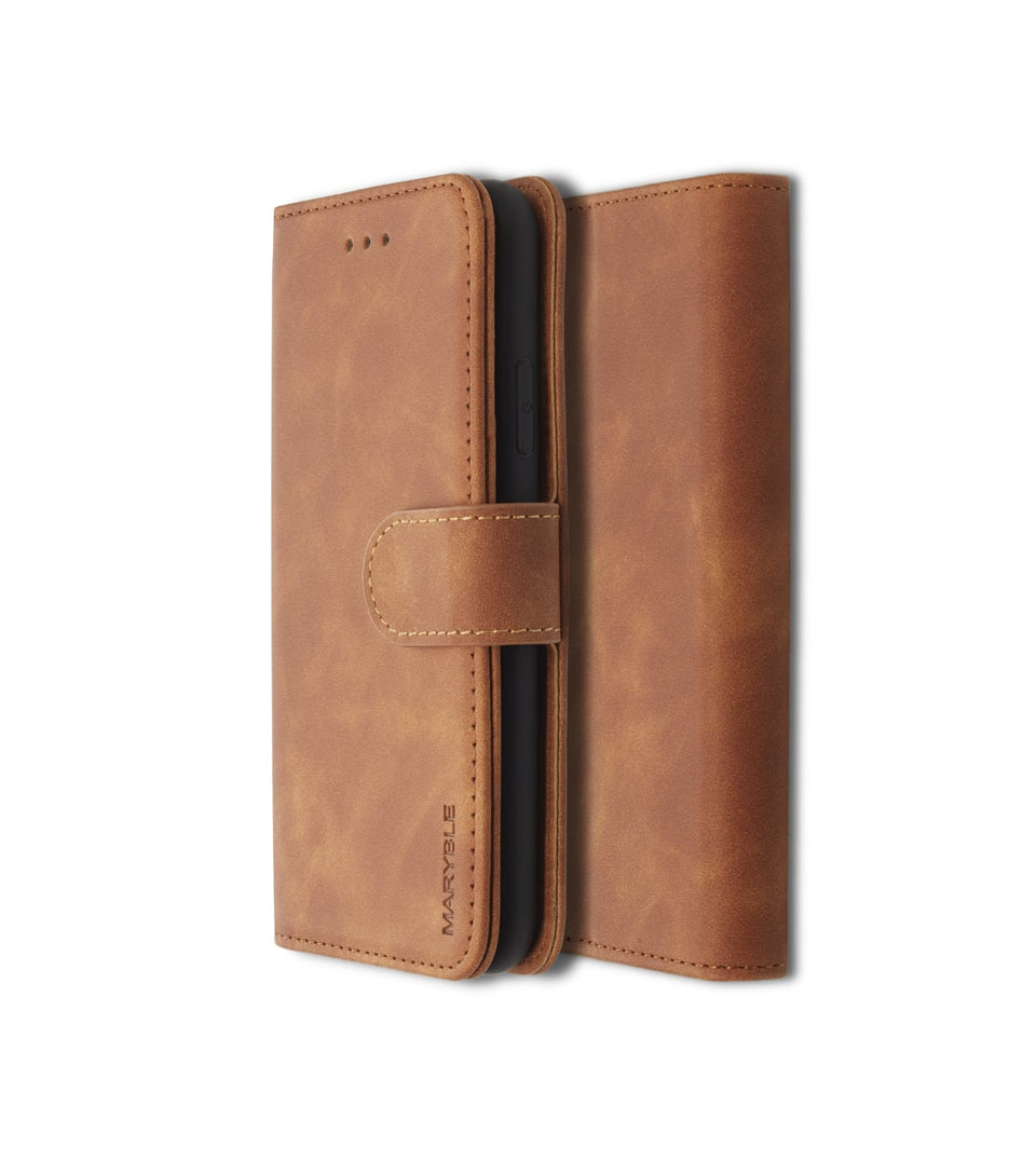 side view iPhone X XS wallet brown leather case