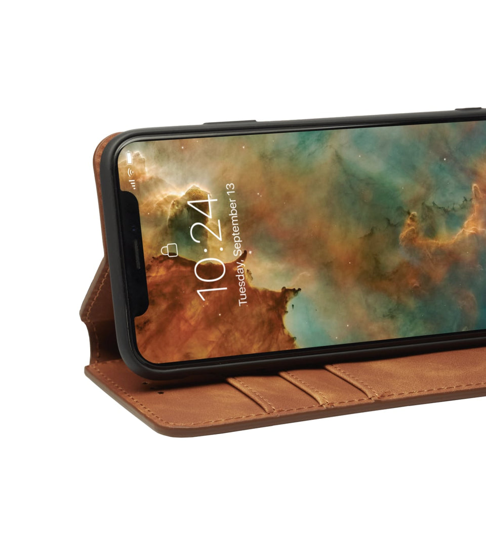 iPhone XS x wallet brown case