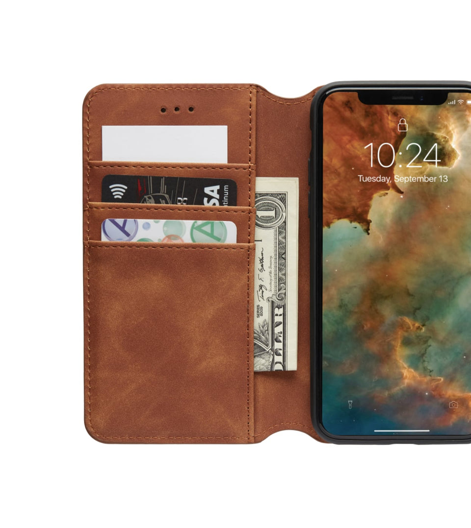 open view iPhone X XS wallet brown case