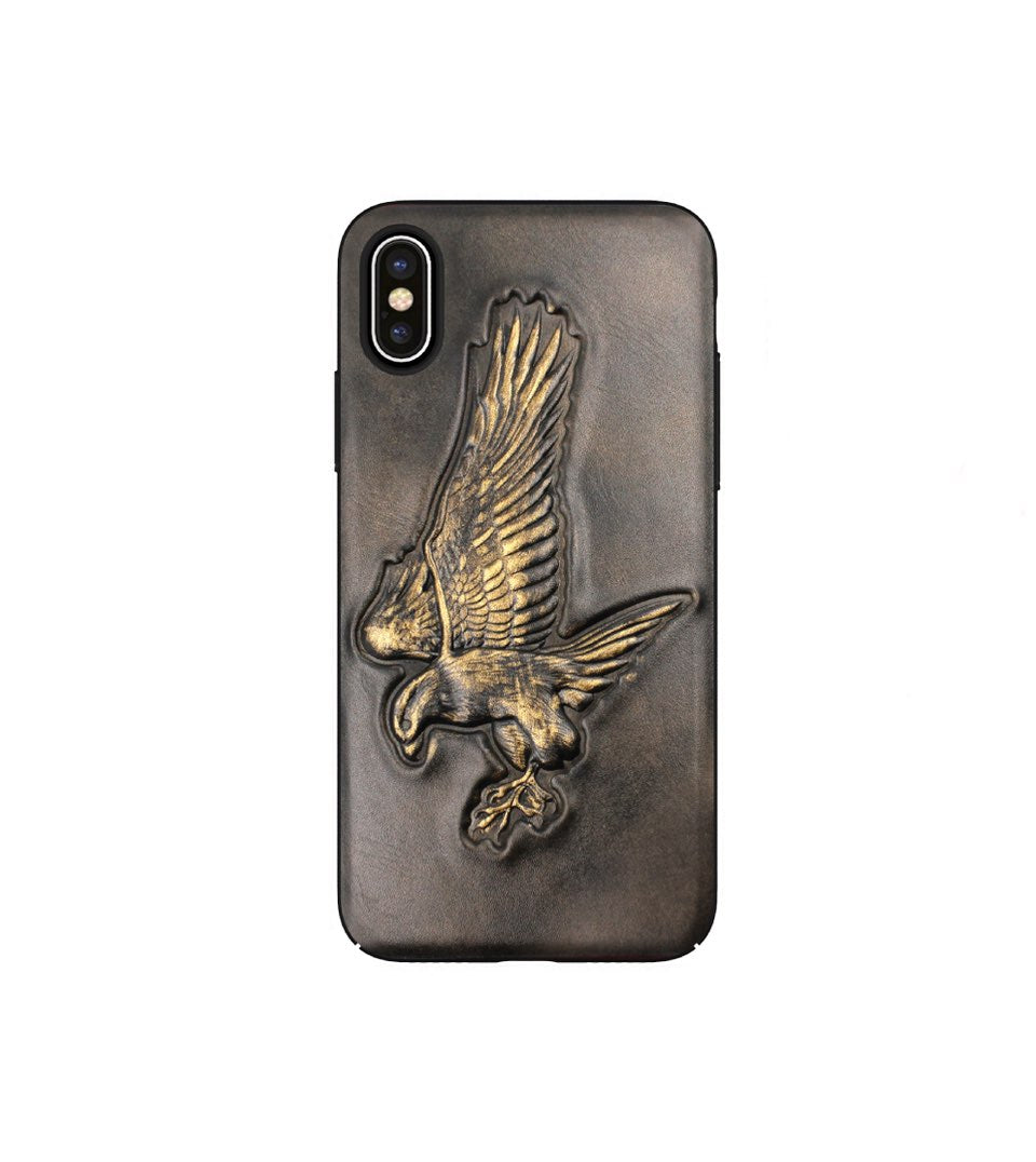 leather iphone x case with eagle